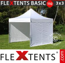 Folding canopy Basic 110, 3x3 m White, incl. 4 sidewalls