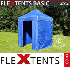 Folding canopy Basic, 2x2 m Blue, incl. 4 sidewalls