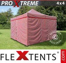 Folding canopy Xtreme 4x4 m Striped incl. 4 sidewalls