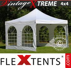 Folding canopy Xtreme Vintage Style 4x4 m White, incl. 4 sidewalls