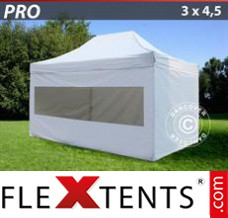 Folding canopy PRO 3x4.5 m White, incl. 4 sidewalls