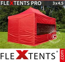 Folding canopy PRO 3x4.5 m Red, incl. 4 sidewalls
