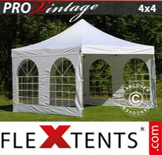 Folding canopy PRO Vintage Style 4x4 m White, incl. 4 sidewalls