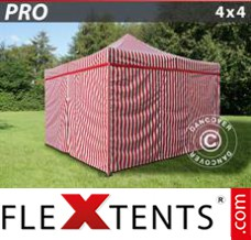 Folding canopy PRO 4x4 m striped, incl. 4 sidewalls