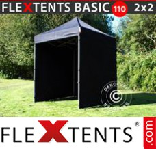 Folding canopy Basic 110, 2x2 m Black, incl. 4 sidewalls