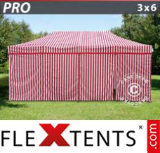 Folding canopy PRO 3x6 m striped, incl. 6 sidewalls