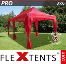 Folding canopy PRO 3x6 m Red, incl. 6 decorative curtains