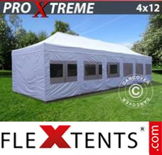 Folding canopy Xtreme 4x12 m White, incl. sidewalls