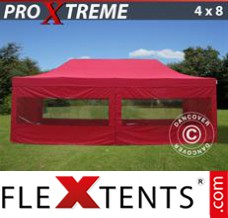 Folding canopy Xtreme 4x8 m Red, incl. 6 sidewalls