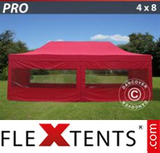 Folding canopy PRO 4x8 m Red, incl. 6 sidewalls