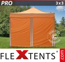 Folding canopy PRO Work tent 3x3 m Orange Reflective, incl. 4...