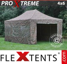 Folding canopy Xtreme 4x6 m Camouflage/Military, incl. 8 sidewalls