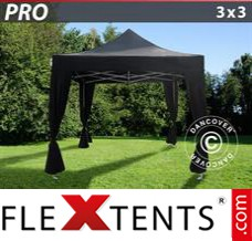 Folding canopy PRO 3x3 m Black, incl. 4 decorative curtains