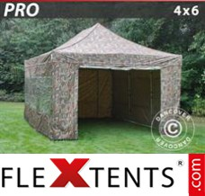 Folding canopy PRO 4x6 m Camouflage/Military, incl. 8 sidewalls