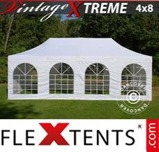Folding canopy Xtreme Vintage Style 4x8 m White, incl. 6 sidewalls