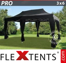 Folding canopy PRO 3x6 m Black, incl. 6 decorative curtains