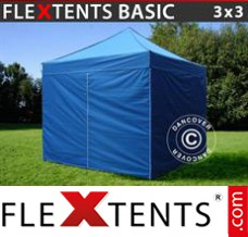 Folding canopy Basic, 3x3 m Blue, incl. 4 sidewalls