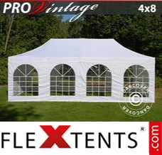 Folding canopy PRO Vintage Style 4x8 m White, incl. 6 sidewalls