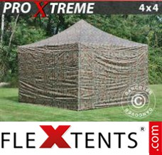 Folding canopy Xtreme 4x4 m Camouflage/Military, incl. 4 sidewalls