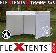Folding canopy Xtreme Exhibition w/sidewalls, 3x3 m, White, Flame...