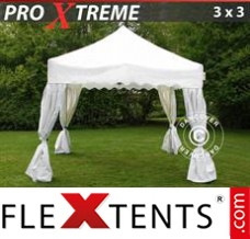 "Folding canopy Xtreme ""Wave"" 3x3m White, incl. 4 decorative curtains"