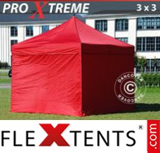 Folding canopy Xtreme 3x3 m Red, incl. 4 sidewalls