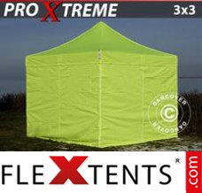 Folding canopy Xtreme 3x3 m Neon yellow/green, incl. 4 sidewalls