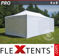 Folding canopy PRO 4x8 m White, incl. 6 sidewalls
