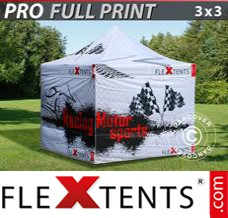 Folding canopy PRO with full digital print, 3x3 m, incl. 4 sidewalls