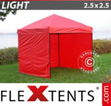 Folding canopy Light 2.5x2.5 m Red, incl. 4 sidewalls