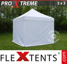 Folding canopy Xtreme 3x3 m White, incl. 4 sidewalls