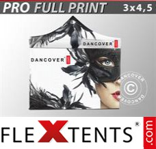 Folding canopy PRO with full digital print, 3x4.5 m, incl. 4 sidewalls