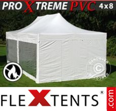 Folding canopy Xtreme Heavy Duty 4x8 m White, incl. 6 sidewalls