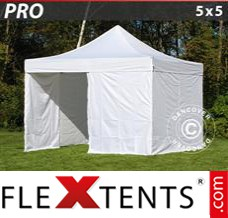 Folding canopy PRO 5x5 m White, incl. 4 sidewalls