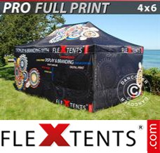 Folding canopy PRO with full digital print, 4x6 m, incl. 4 sidewalls