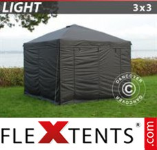 Folding canopy Light 3x3 m Black, incl. 4 sidewalls