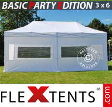 Folding canopy Basic 3x6 m White, incl. 6 sidewalls