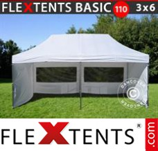 Folding canopy Basic 110, 3x6 m White, incl. 6 sidewalls