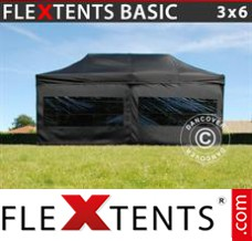 Folding canopy Basic, 3x6 m Black, incl. 6 sidewalls