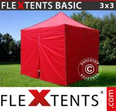 Folding canopy Basic, 3x3 m Red, incl. 4 sidewalls