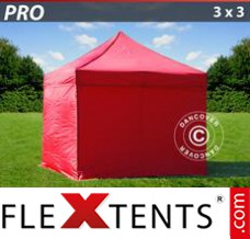 Folding canopy PRO 3x3 m Red, incl. 4 sidewalls