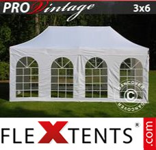 Folding canopy PRO Vintage Style 3x6 m White, incl. 6 sidewalls