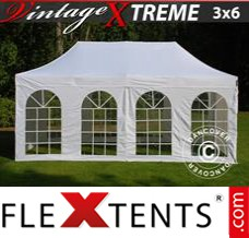 Folding canopy Xtreme Vintage Style 3x6 m White, incl. 6 sidewalls