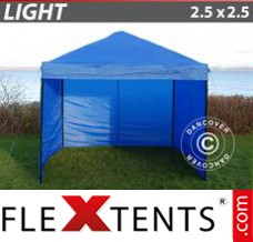 Folding canopy Light 2.5x2.5 m Blue, incl. 4 sidewalls