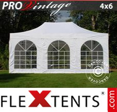 Folding canopy PRO Vintage Style 4x6 m White, incl. 8 sidewalls