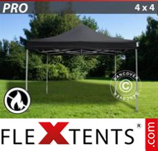 Folding canopy PRO 4x4 m Black, Flame retardant