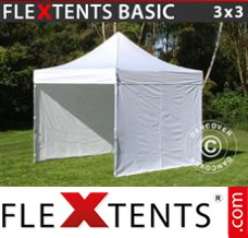 Folding canopy Basic, 3x3 m White, incl. 4 sidewalls