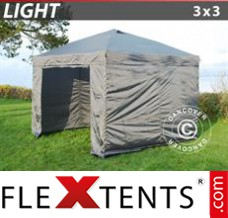 Folding canopy Light 3x3 m Grey, incl. 4 sidewalls