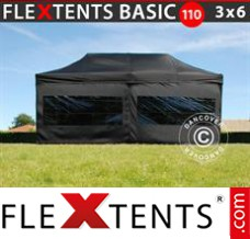 Folding canopy Basic 110, 3x6 m Black, incl. 6 sidewalls