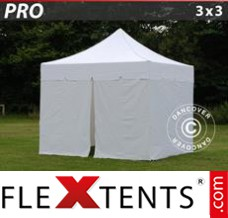 "Folding canopy PRO ""Peaked"" 3x3 m White, incl. 4 sidewalls"